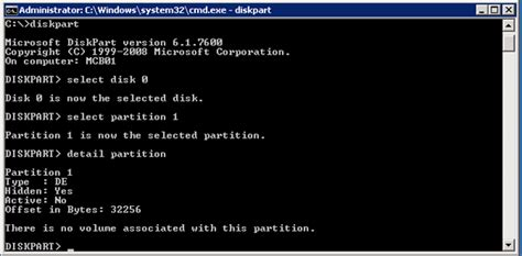 diskpart format single partition diskpart does not see volumes on oem partitions mcb systems