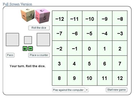 printable games with integers games mr williams maths