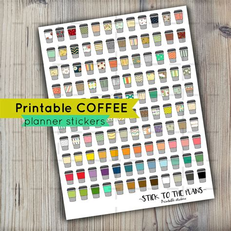 Coffee Planner Stickers Printable | coffee printable planner stickers patterned coffee planner