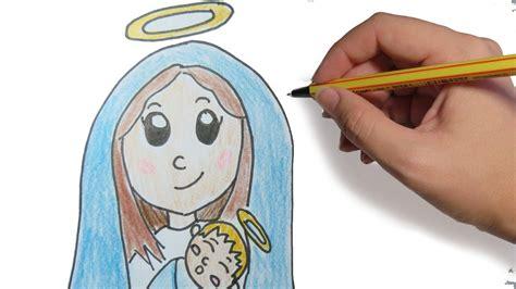 imagenes sencillas de la virgen maria como dibujar a la virgen para navidad paso a paso facil