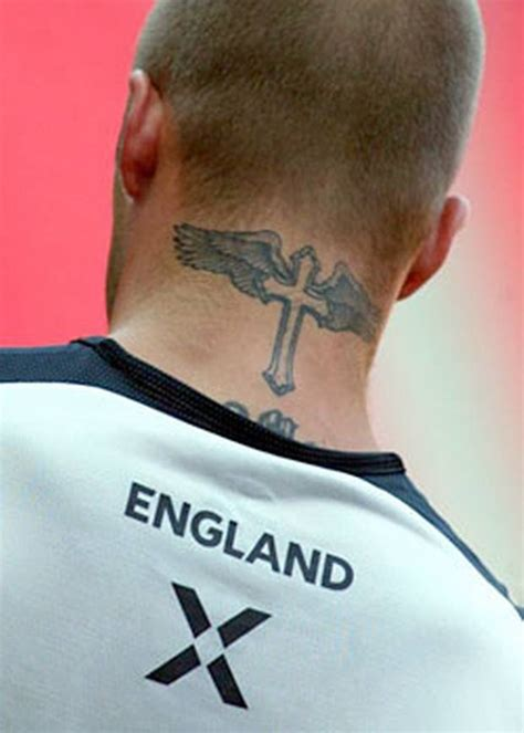 david cross tattoos cross david beckham design on neck david beckham