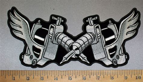 tattoo gun embroidery design 4235 cp two tattoo guns back patch embroidery patch