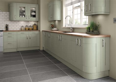 grey and green kitchen fairford painted green pebble kitchens