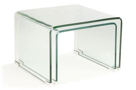 set 2 tables basses gigogne verre transparent otta table
