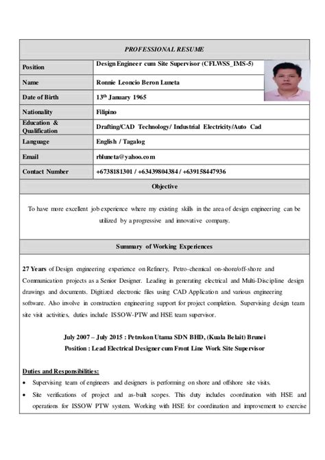 resume updated with photo