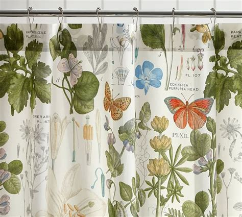 botanical shower curtains poppy botanical print shower curtain pottery barn