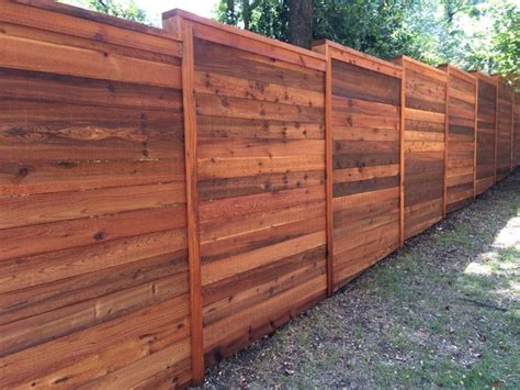 Vanities In Canada 8 H Horizontal Cedar Privacy Fence W Cap Amp Trim Stained