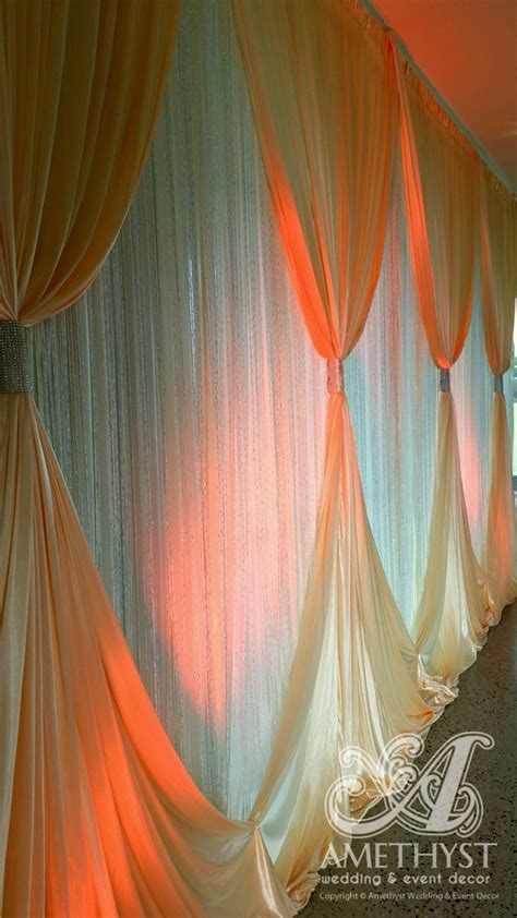 Sparkle Backdrop Curtains Wedding Backdrop With Glitter Curtains Silver Diamante Curtain Ties Orange Lighting Wedding