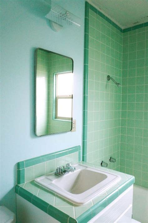 retro green bathroom laura s green b w tile bathroom remodel in progress