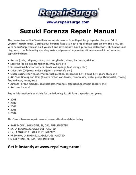 service repair manual free download 2008 suzuki forenza electronic valve timing suzuki forenza repair manual 2004 2008