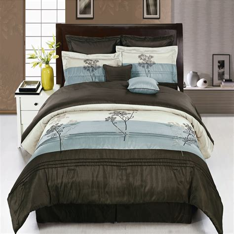blue and brown queen comforter sets portland aqua blue metallic and coffee brown luxury 8