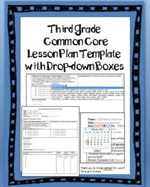 lesson plan template with drop down menu fourth grade common core lesson plan template with drop