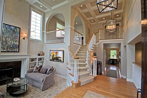 high design home remodeling traditional staircase with box ceiling sunken living