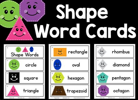 printable shapes word shape picture word cards prekinders