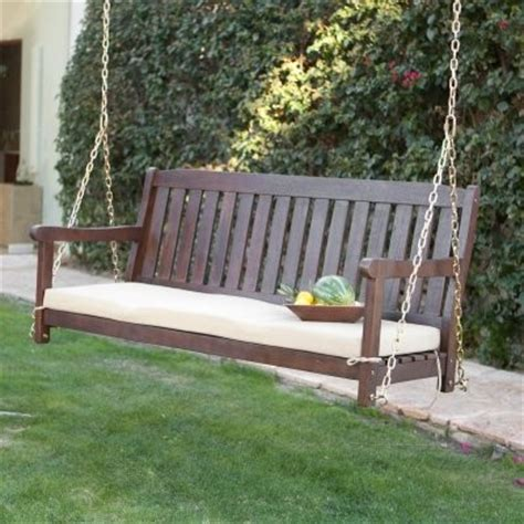 porch swing accessories coral coast cabos java brown wood porch swing with cushion