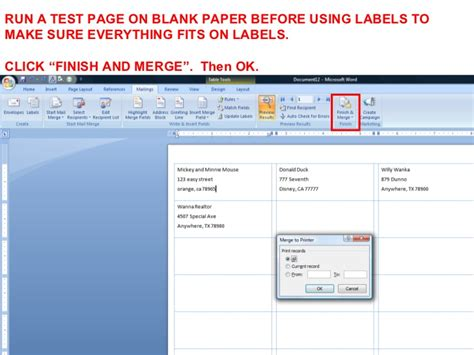 Printing Address Labels From Outlook Contacts | creating mailing labels from outlook contacts