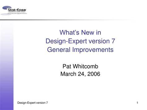 design expert 7 full ppt what s new in design expert version 7 general