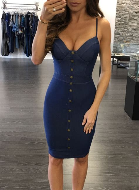 Mini Dress Amanda Denim s spaghetti v neck sleeveless bodycon mini denim dress achicgirl
