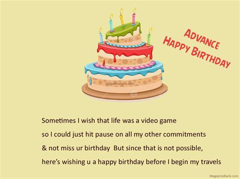 Advance Birthday Cards Advance Quotes Quotesgram