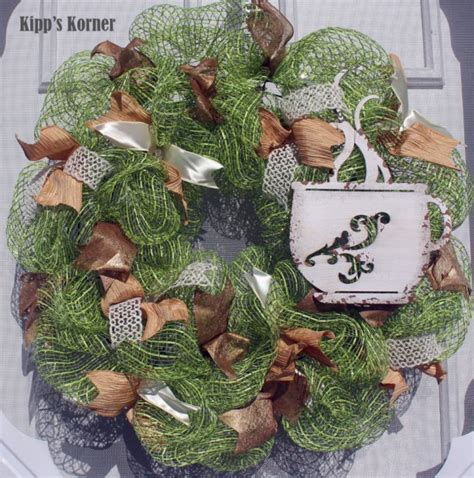trading seasons spring wreaths coffee cup deco mesh wreath door decor rustic metal