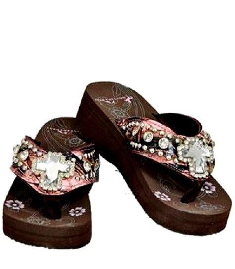 montana west sandals pink rhinestone camo cross flip flops sandals montana west