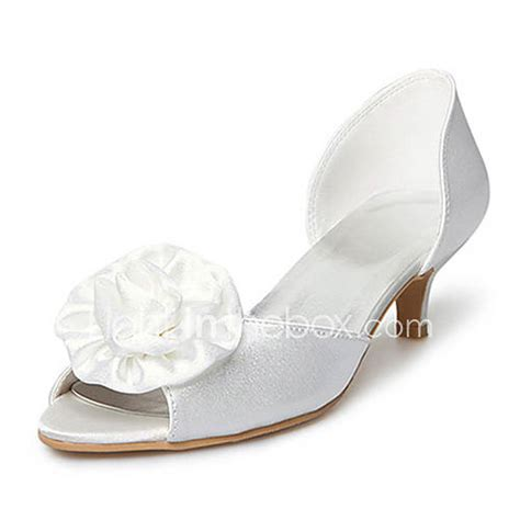 wedding shoes kitten heel with peep toe satin kitten heel peep toe with satin flower wedding