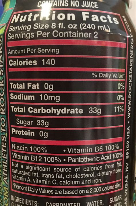 energy drink nutrition label rockstar energy drink nutrition facts primus green energy