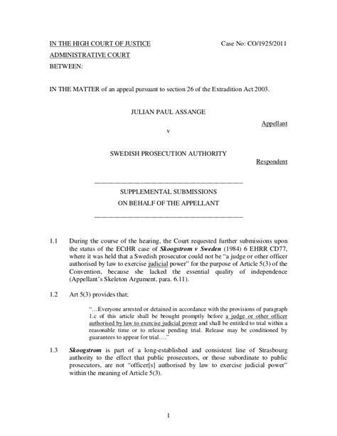 supplementary skeleton argument submitted   appellant julian ass