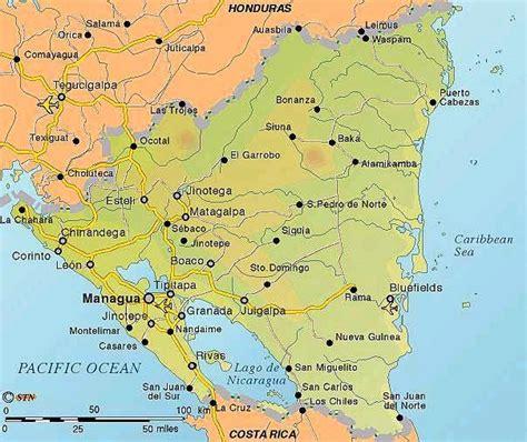 nicaragua on a map maps of nicaragua