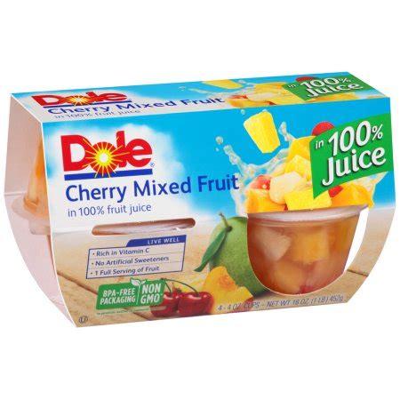 1 fruit cup calories dole fruit bowls cherry mixed fruit in 100 fruit juice