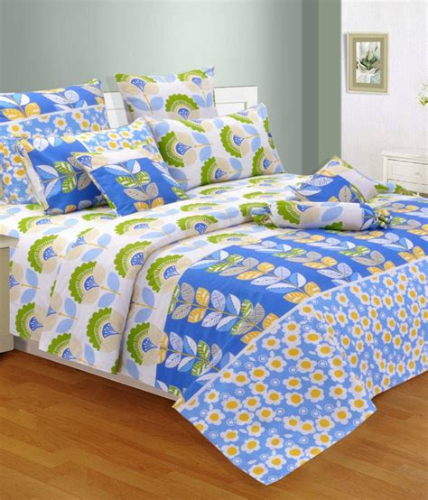 double bed sheets salona bichona blue cotton double bed sheet buy salona