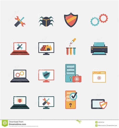 Home Design Software For Mac Free computer repair flat icons set stock vector image 45918754
