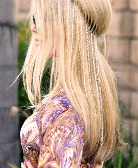 diy hairstyles with headband diy hanging chains headband boho coachella hair