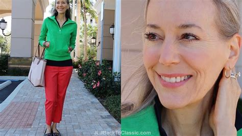 preppy for women over 50 preppy resort ootd kelly green pullover coral cropped