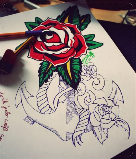 rose and anchor tattoo design by sukis brain artwork on