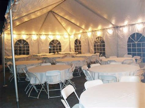 20x40 tent with lights tables linens for 60  guests