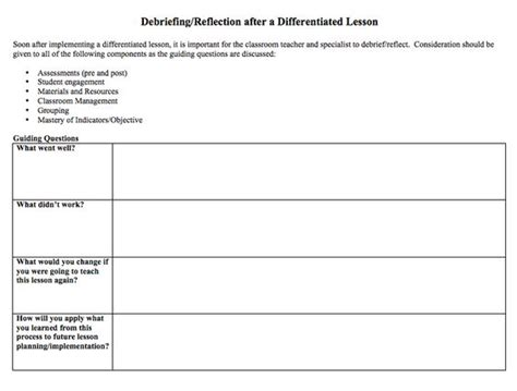 Debriefing Reflection After A Differentiated Lesson Handouts And Information Pinterest Event Debrief Template