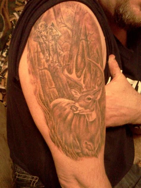 camo bow tattoo 1st tattoo with bowhunter in tree hunting tattoo