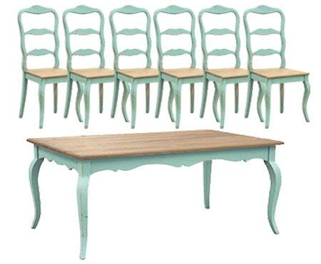 turquoise french dining table set 1 table 6 chairs by