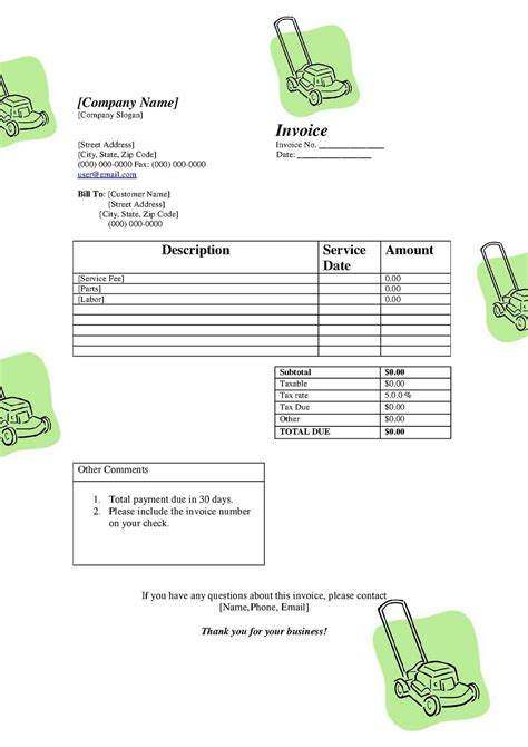 simple service invoice template invoice sample template