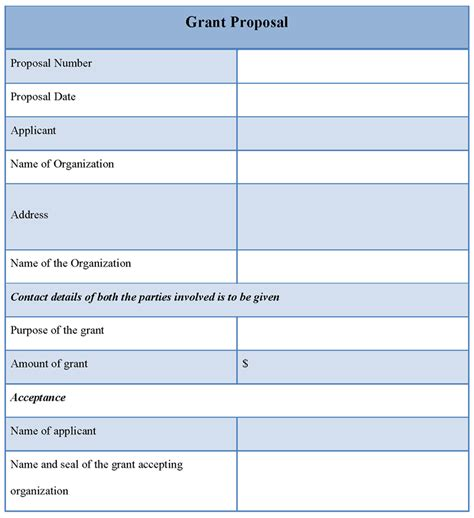 template for grant proposal format of grant proposal
