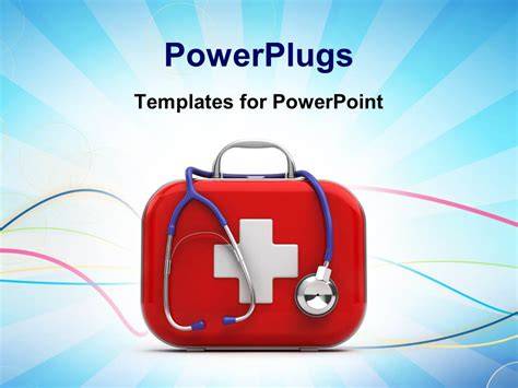 Powerpoint Template First Aid Box And Stethoscope With Medical Symbol On Blue Background 12346 Aid Powerpoint Template