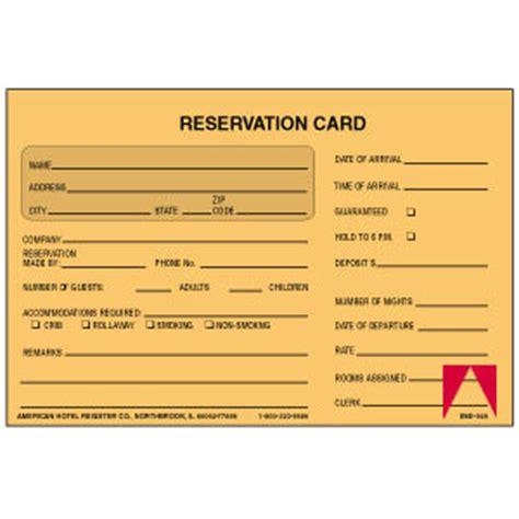 Reservation card unnumbered american hotel register