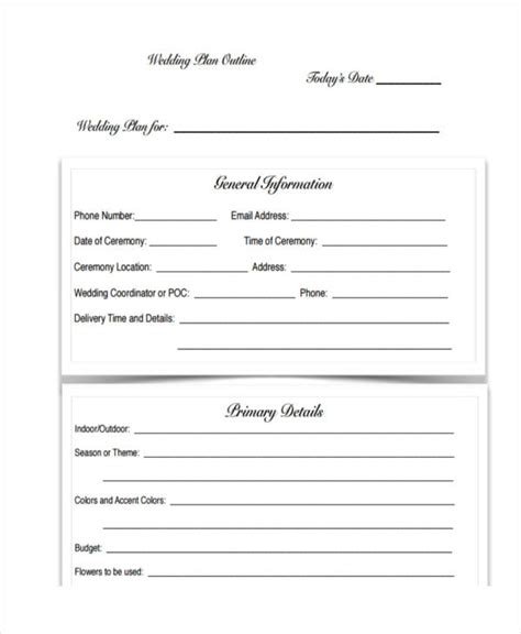 Wedding Budget Outline by 10 Wedding Plan Exles Sles