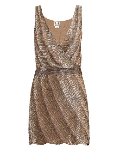 taupe beaded dress haute hippie beaded dress in brown taupe lyst