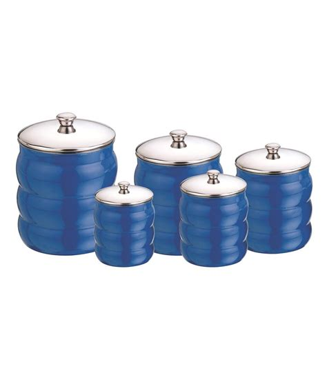 kitchen stainless steel canister set cobalt blue aagam cobalt blue stainless steel canisters buy online at