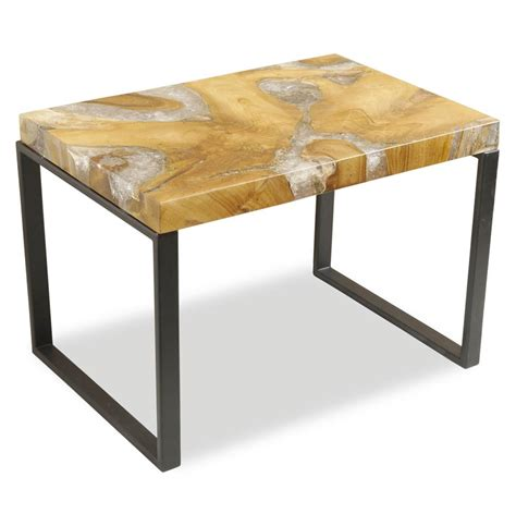 Rustic Side Table Molenaar Rustic Lodge Teak Root Resin Rectangle Side Table Kathy Kuo Home