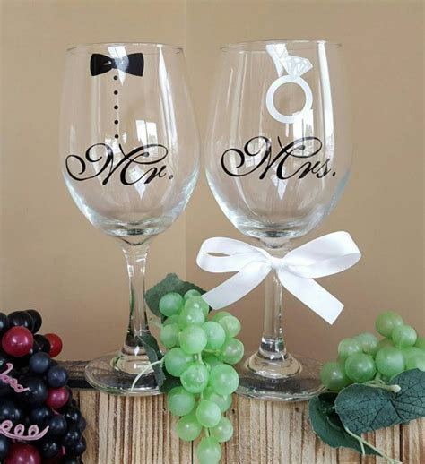 Mr and Mrs wine glassess with tuxedo and ring; mr and mrs