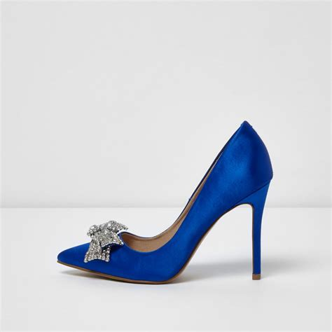 shoes for images blue satin diamante bow court shoes occasionwear sale