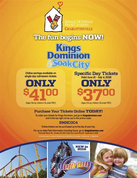 ronald mcdonald house charlottesville kings dominion fundraiser use promo code rmhcoc4 ronald